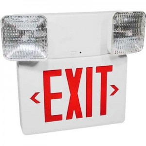 Emergency exit light with 2 bulbs and red letters