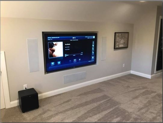 A flat screen monitor on the wall in a smart home