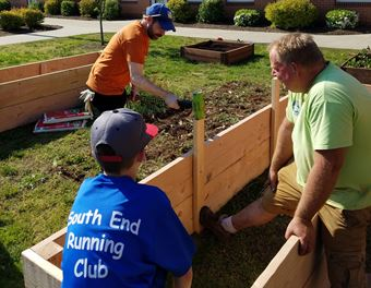 Spring gardening at South End Elementary School, Plantsville, CT