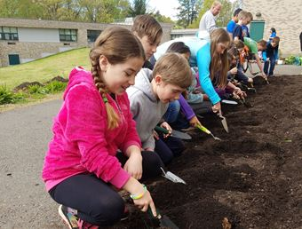 Children participate in gardening at Strong Elementary School