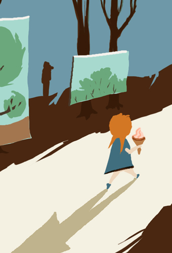 wood, forest, girl, ice, cream, cone, road, path, trees, merida, mexico