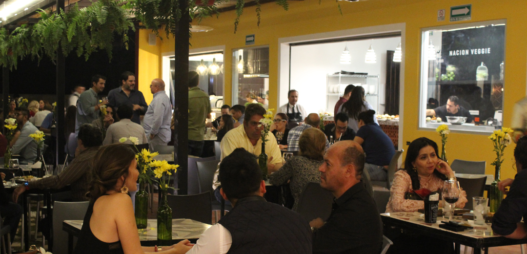 restaurant, people, tables, chairs, yellow, palms, women, men, wine, flowers, kitchen, waiter