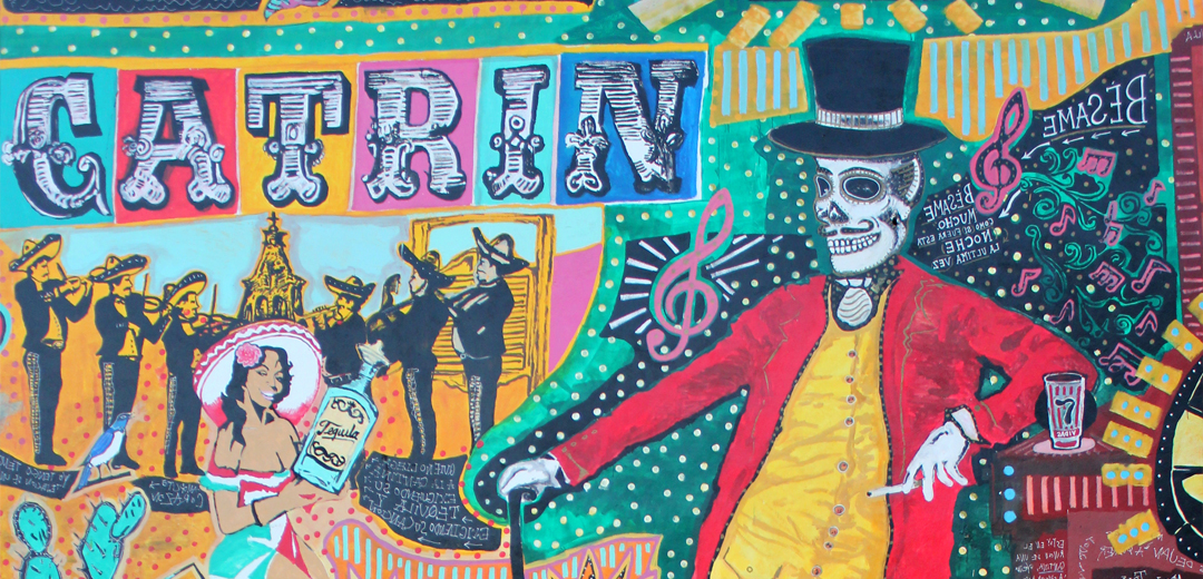 catrin, wall painting, skeleton, hat, red coat, tequila, girl, mariachi, colors, merida, mexico