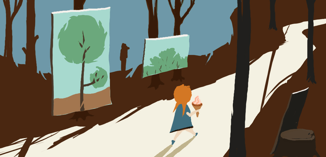 woods, trail, girl, ice cream, red hair, paint, trees