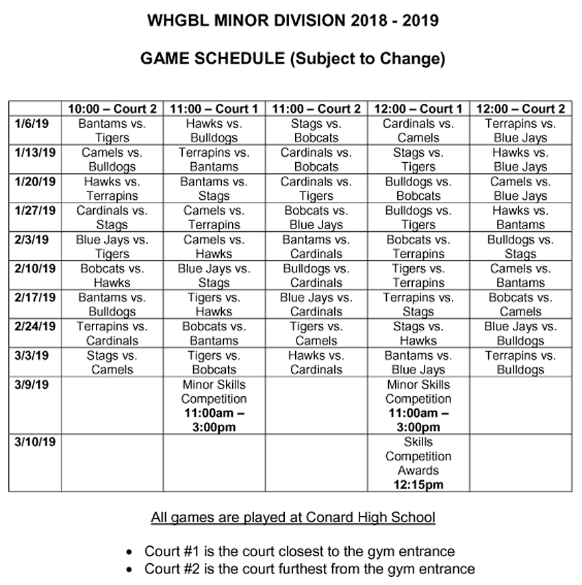 West Hartford Girls Basketball Minor Division Game Schedule 2018-19