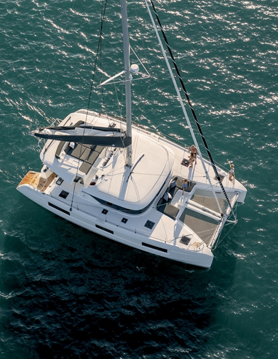 A birds eye view of the catamaran you can lease for your BVI vacation