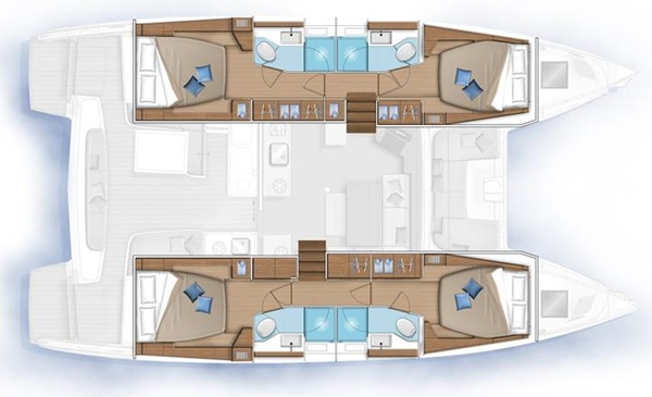 The Tortuga charter vessel has 4 cabins and 4 heads
