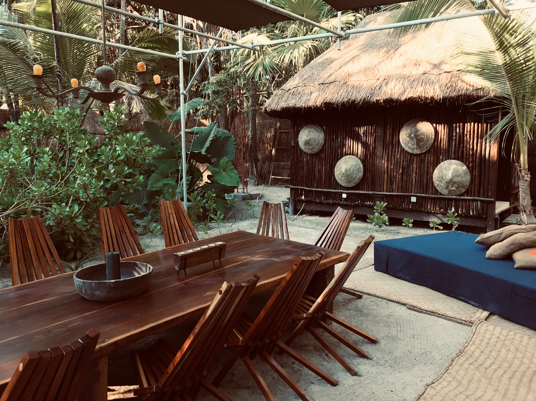 kitchen, table, chairs, sand, mat, decoration, candles, beach, rustic, palms, trees, tulu,m, libelula, glamping