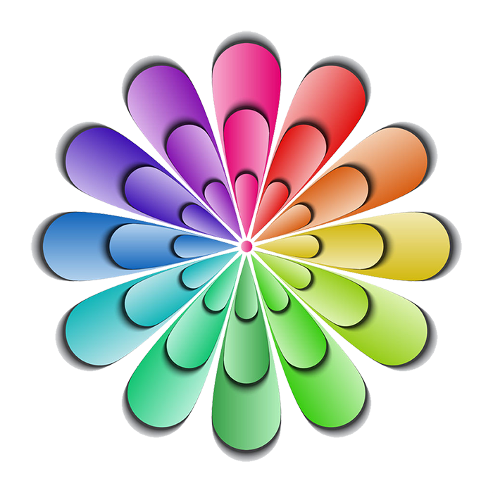 Dare to Dream icon of a flower representing the color wheel