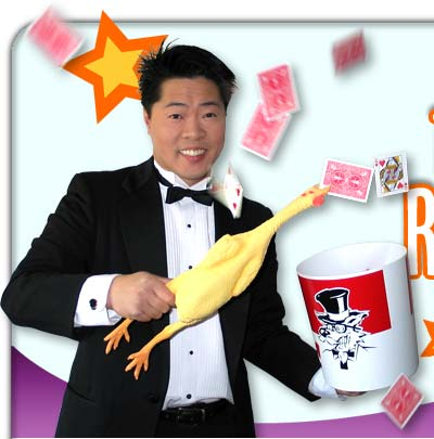 robert in a tuxedo with a rubber chicken and cards