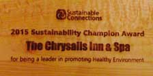 Chrysalis Inn received the 2015 sustainability champion award.