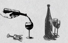 Illustrated images of a waiters hand pouring a bottles of wine into a wine glass, with corkscrew beside.