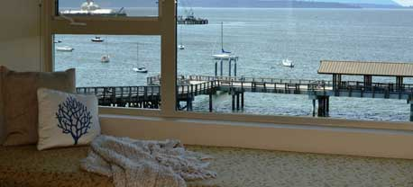 A beautiful window seet over looks Bellingham Bay from one of our Full View Deluxe rooms.