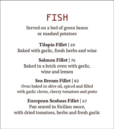 Fish business menu