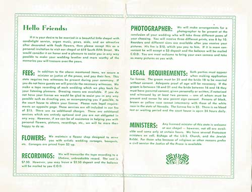 Gretna Green Wedding Chapel Brochure - Back