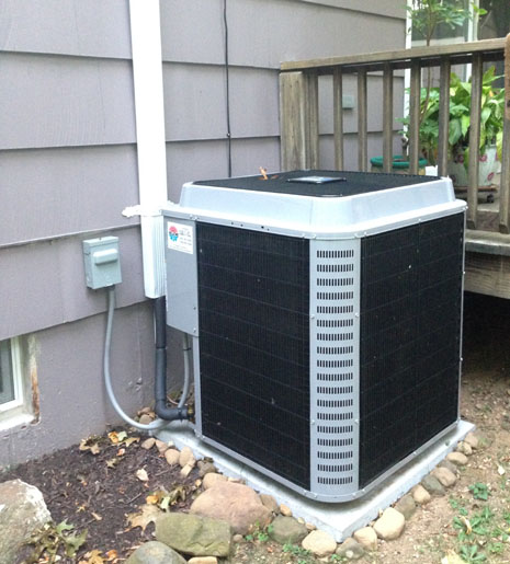Central air unit outside a home