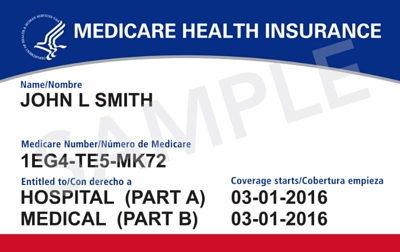 New style Medicare card that doesn't show a person's social security number