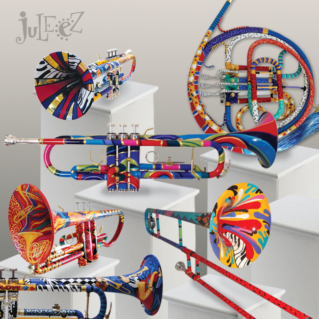 Colorful Painted Trumpets by Juleez