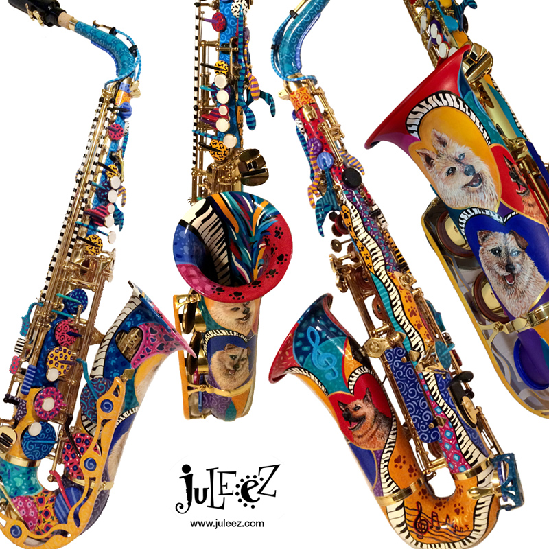 Hand Painted Colorful Saxophone Dog Art by Juleez