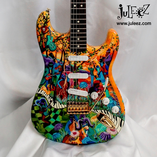 Hand Painted Fender Strat Body with Custom Painted Pickguard