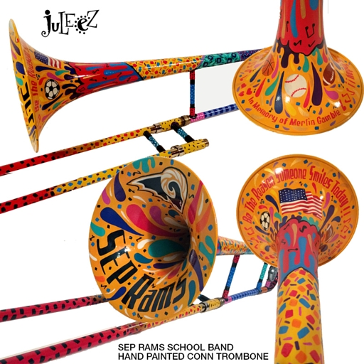 Hand Painted Trombone SEP Rams Band Juleez