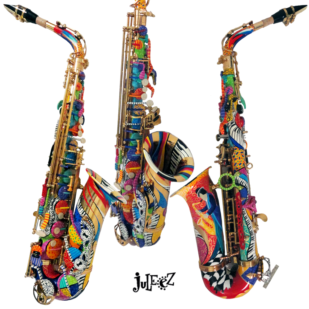 Hand Painted Colorful Jazz Art Saxophone by Juleez