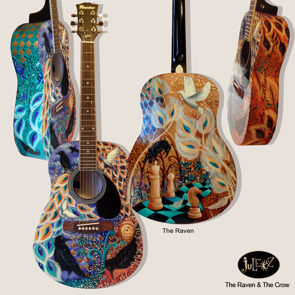 Juleez Painted Raven Guitar Fender Dreadnought Acoustic Peacock Art