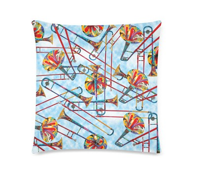 Trombone Print Colorful Pillow by Juleez