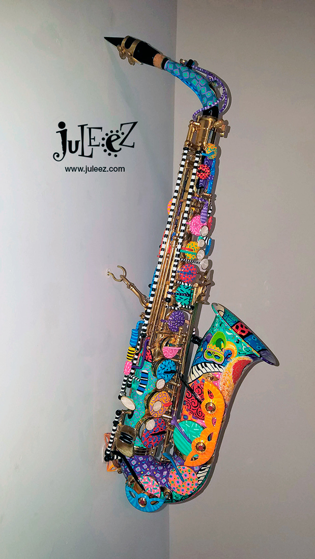 Bright Colorful Painted Saxophone Musical Instrument by Juleez