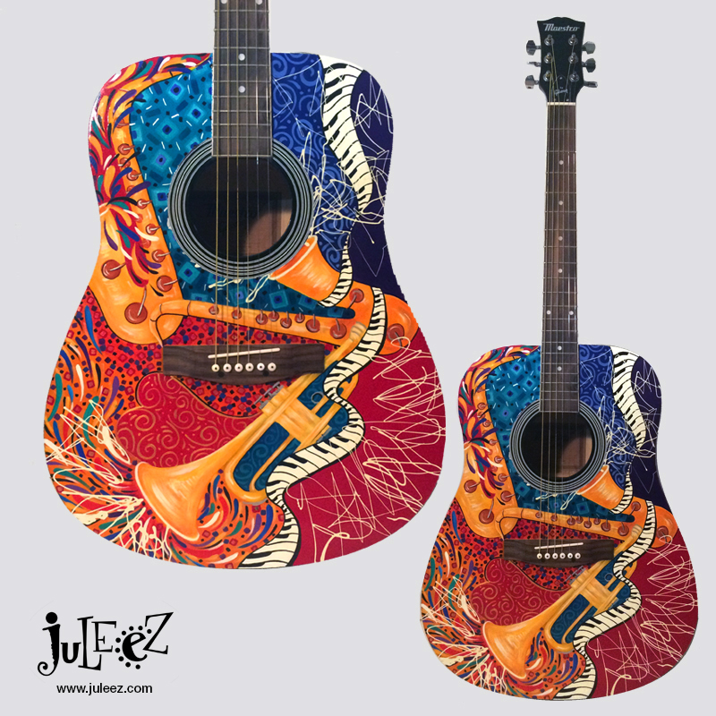 Juleez Jazz Painted Acoustic Guitar