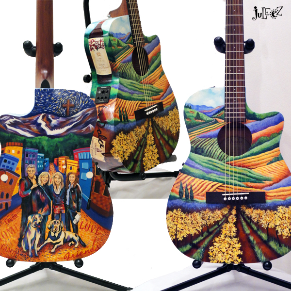 Juleez Painted Fender Cut Away Acoustic Guitar Italy Theme