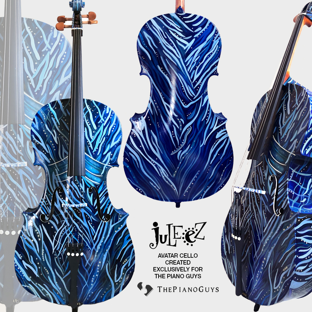 Colorful painted cello by Juleez for the Piano guys