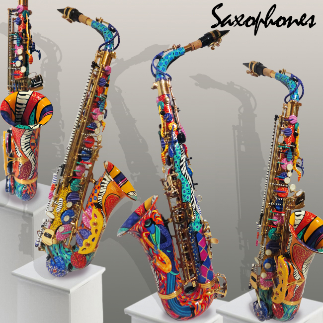 Colorful Painted Saxophones by Juleez