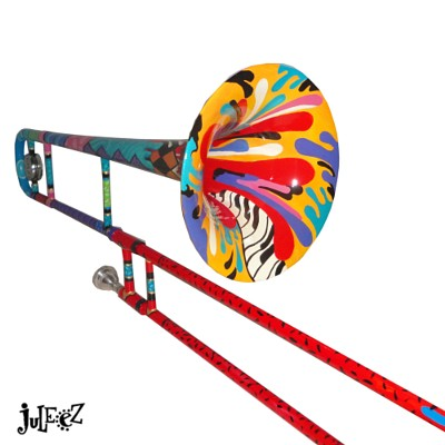 Hand Painted Trombone by Juleez Trombone Art