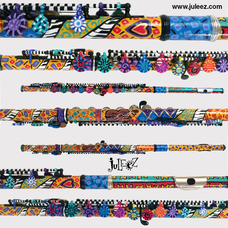 Hand Painted Flute  By Juleez Colorful Flute