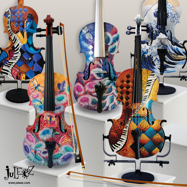 Colorful Painted Violin Musical Instruments by Juleez