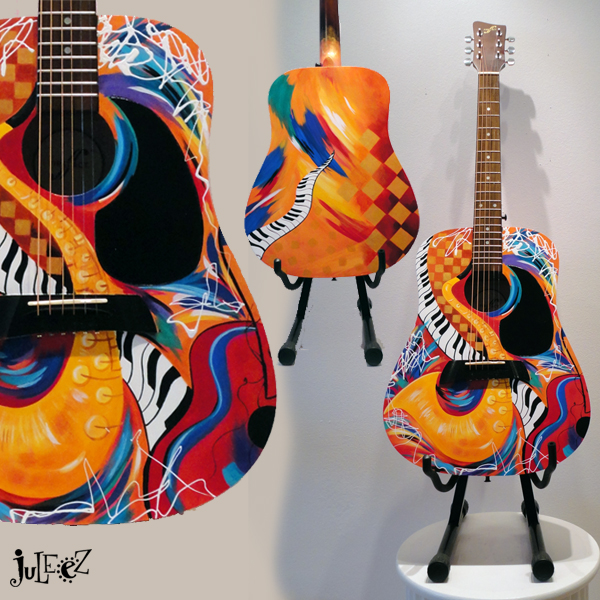 Jazz Art Painted Guitar by Juleez
