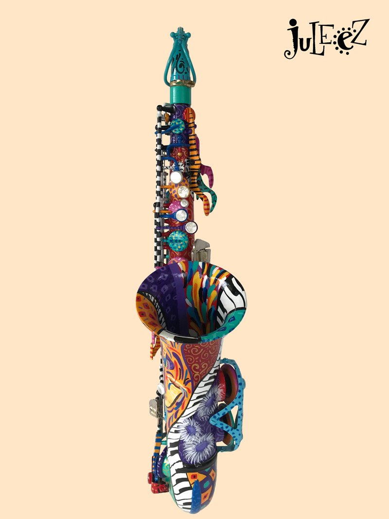 Hand Painted Colorful Jazz Art Alto Saxophone by Juleez