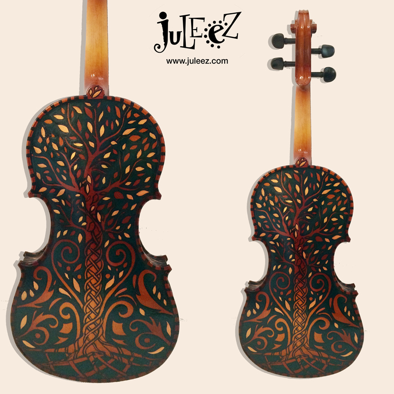 Celtic Design Painted Violin by Juleez