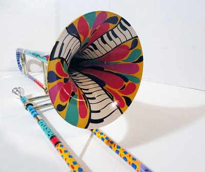 Hand Painted colorful Trombone Bell By Juleez
