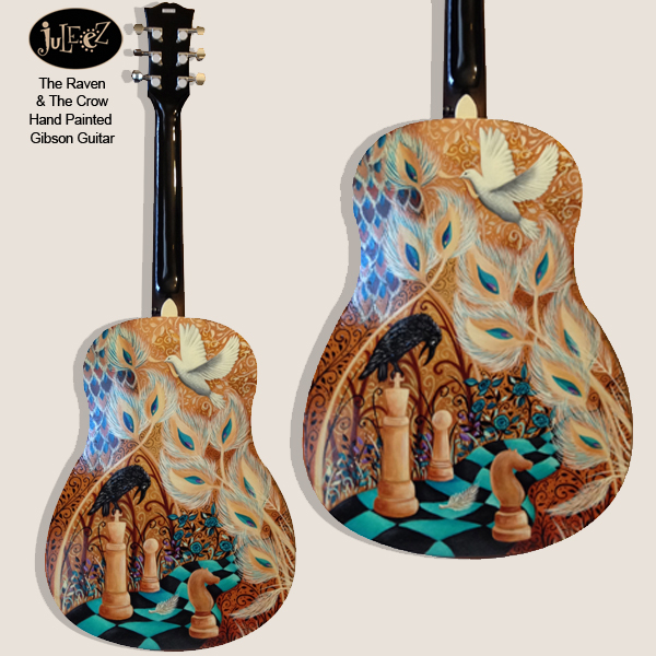 Juleez Painted Guitar Fender Dreadnought Acoustic Raven Peacock Art