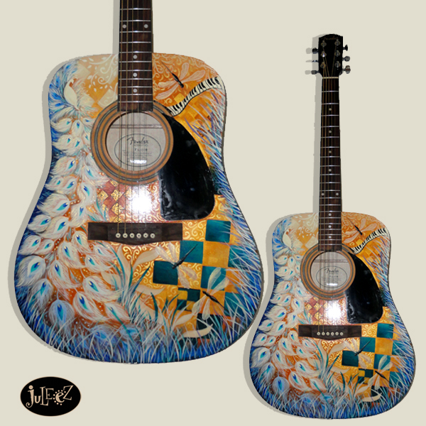 Juleez Painted Guitar Fender Dreadnought Acoustic