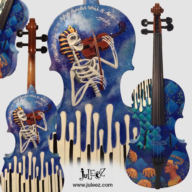 Hand Painted Colorful Violin by Juleez