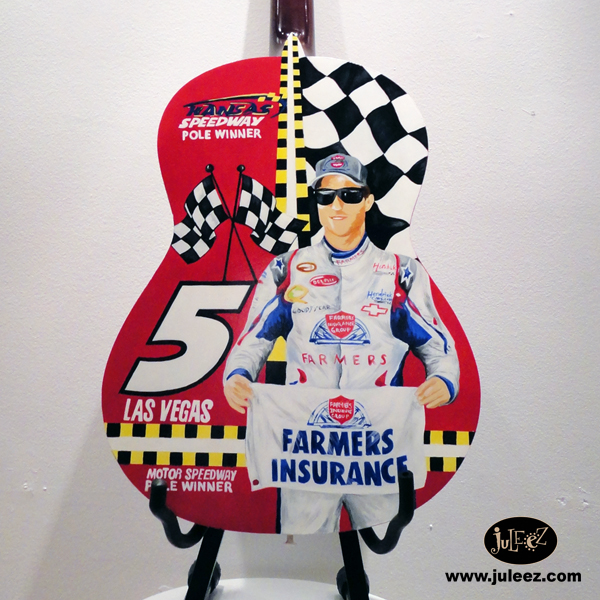 Custom Painted Nascar Fender Acoustic Guitar By Juleez
