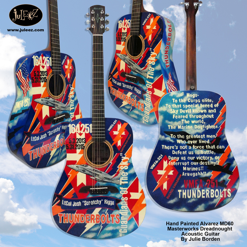Juleez Alvarez Painted Dreadnought Guitar Thunderbolts Patriotic