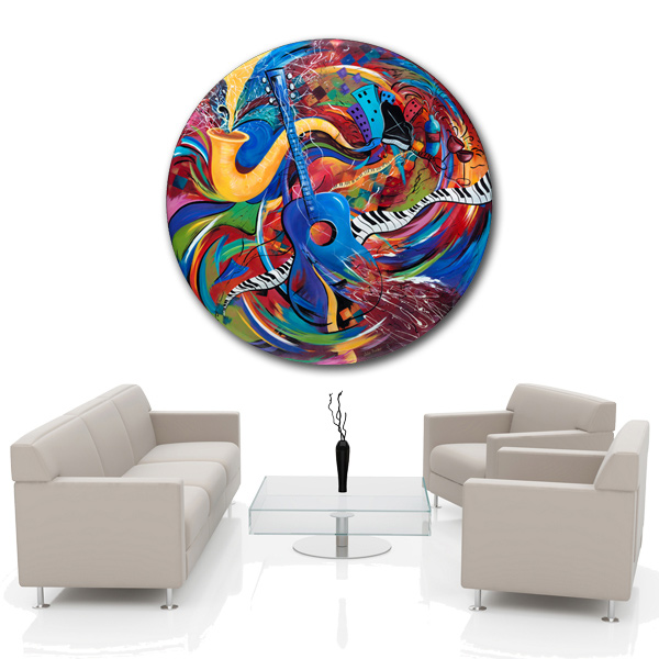 Colorful Guitar Jazz Large Wall Art by Juleez