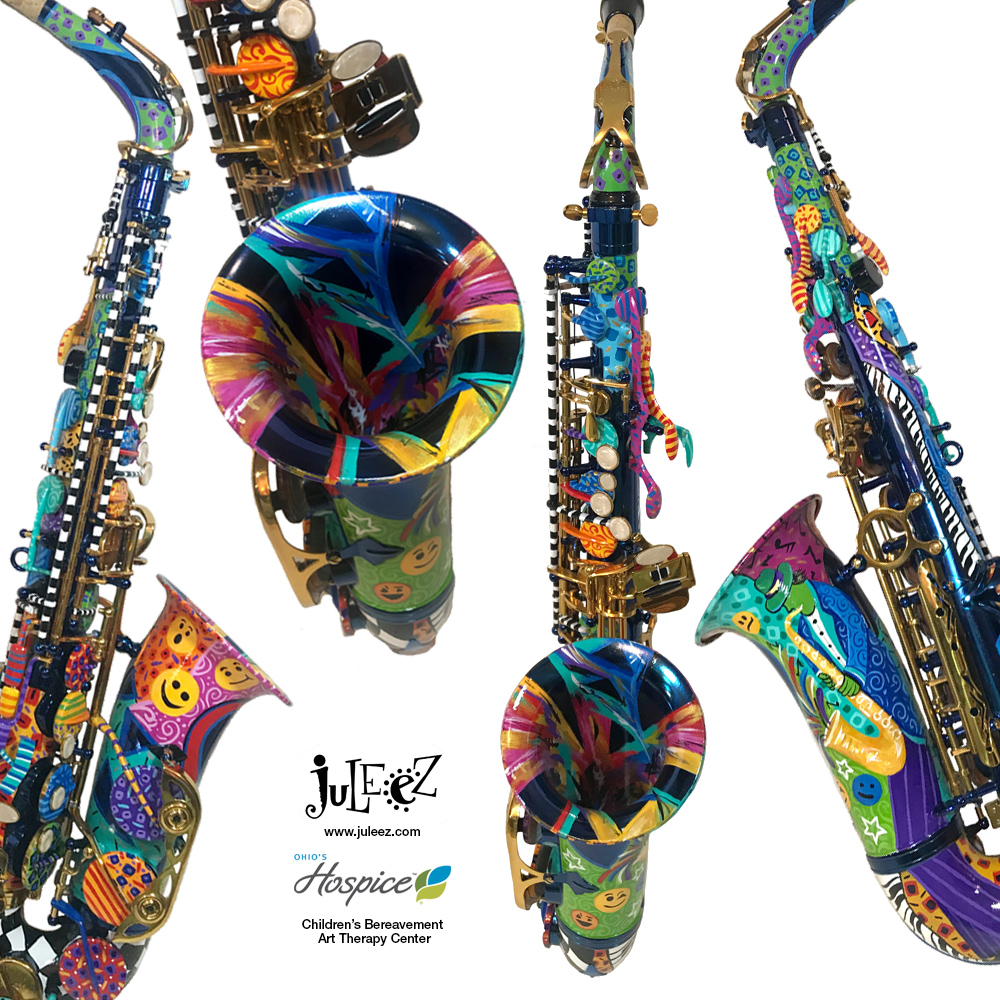 Hand Painted Colorful Saxophone by Juleez