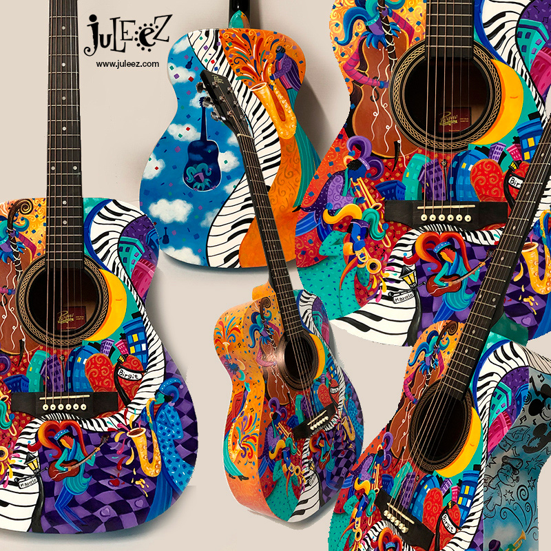 Custom Painted Acoustic Jazz Guitar by Juleez