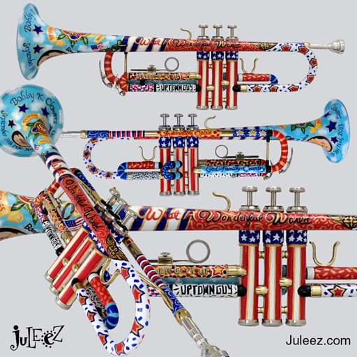 Colorful Handpainted Trumpet by Juleez