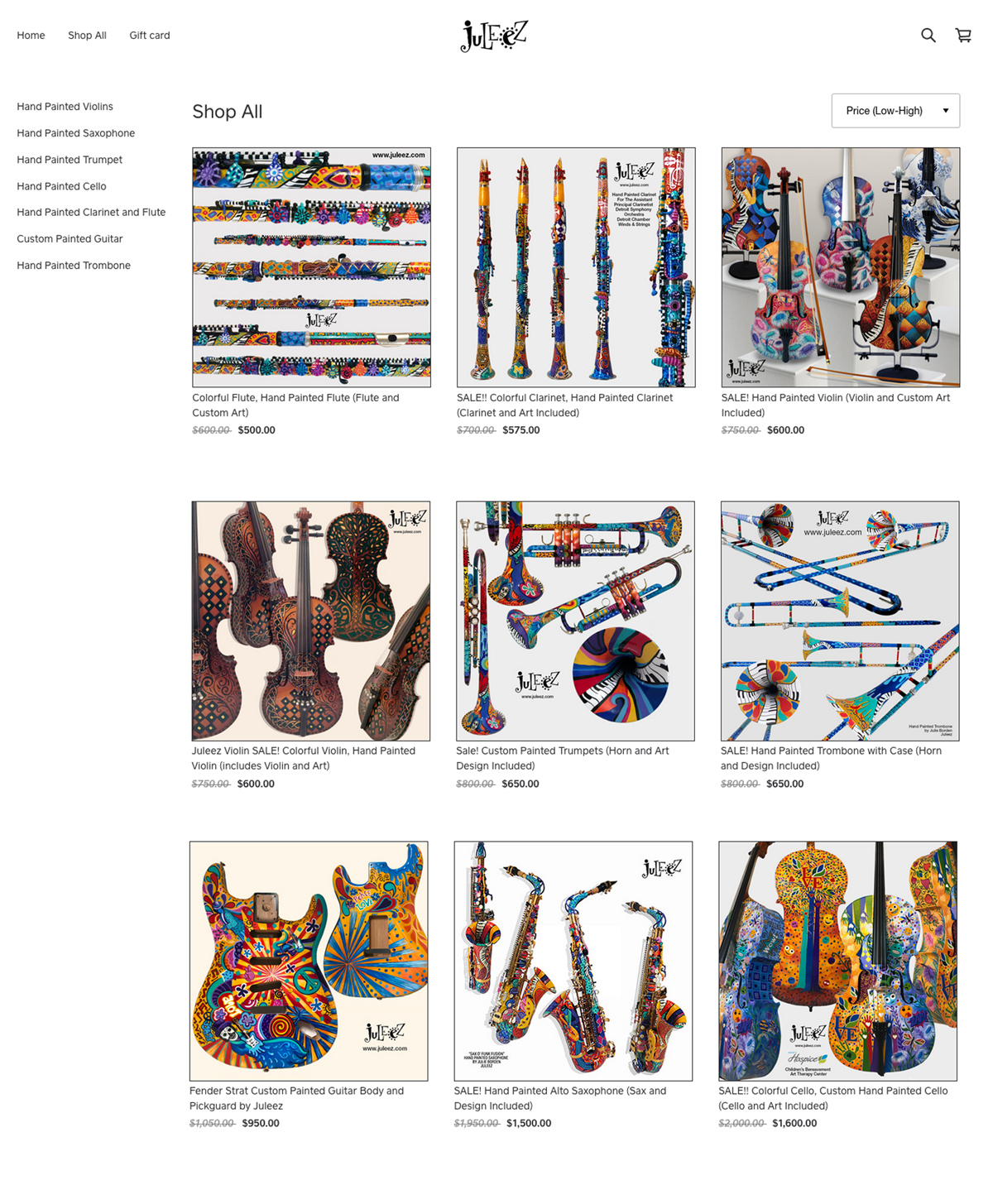 Colorful Musical Instruments Hand Painted by Juleez